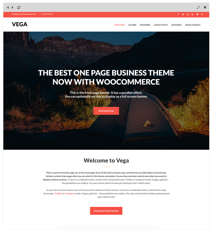 Vega - Free Business WordPress Theme