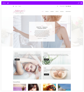 feminine wordpress theme - strip slider
