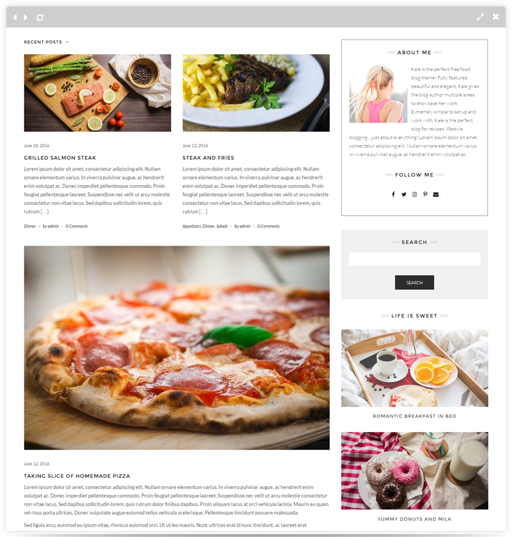 Kale the perfect free food blog theme looking for the pro version forumfinder Image collections