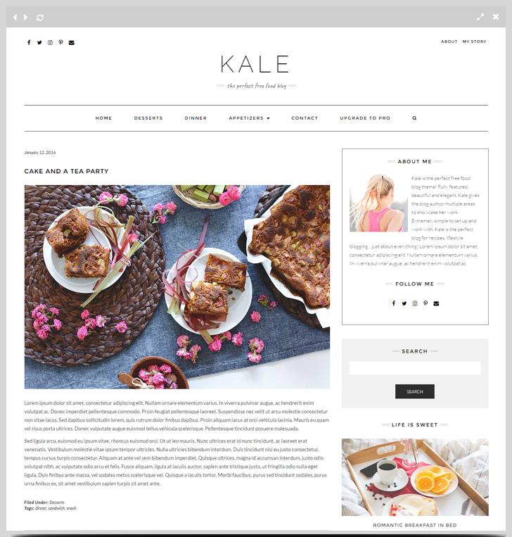 Kale - The Perfect Free Food Blog Theme