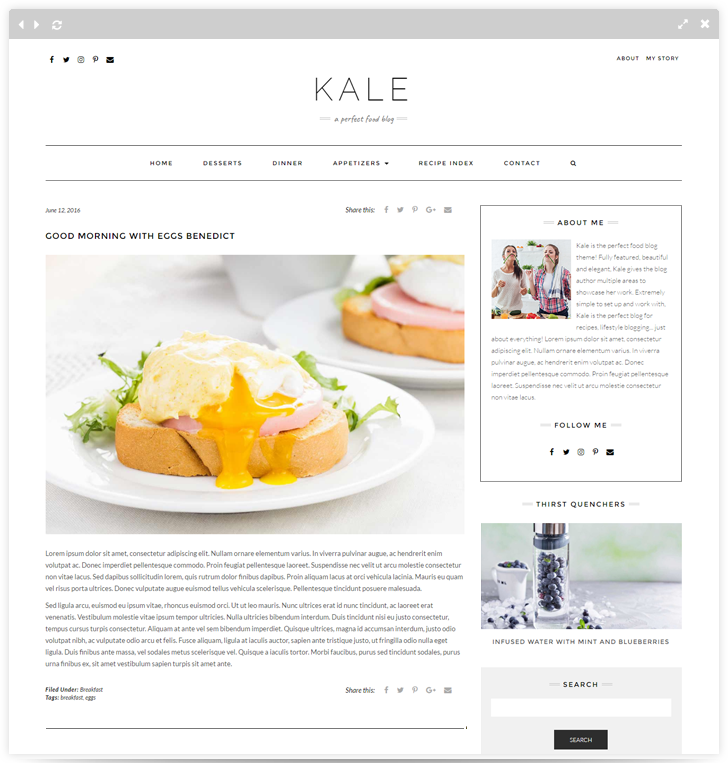 Kale pro premium food blog theme for wordpress kale pro forumfinder Choice Image