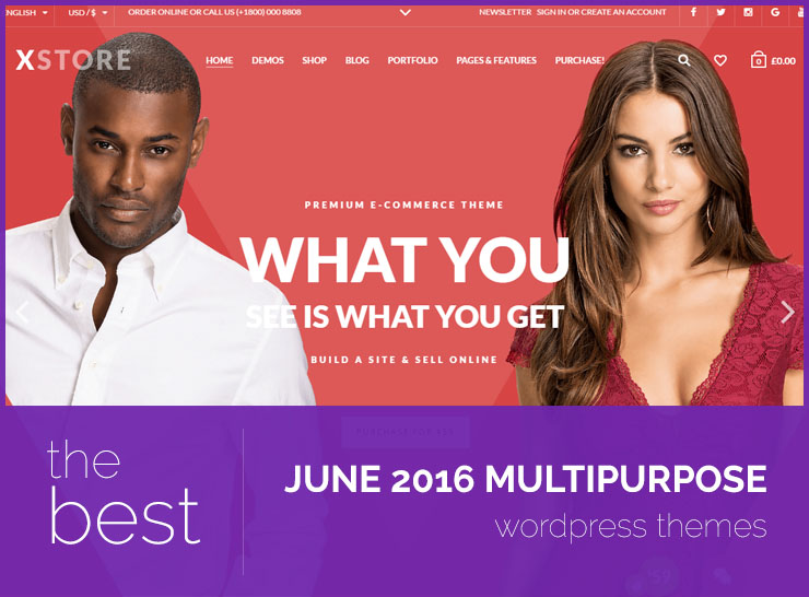 The Latest 5 Bestselling Multipurpose WordPress Themes of June 2016