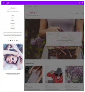 feminine theme off-canvas navigation