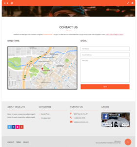 vega free wordpress theme footer