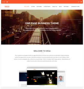 vega free one page wordpress theme