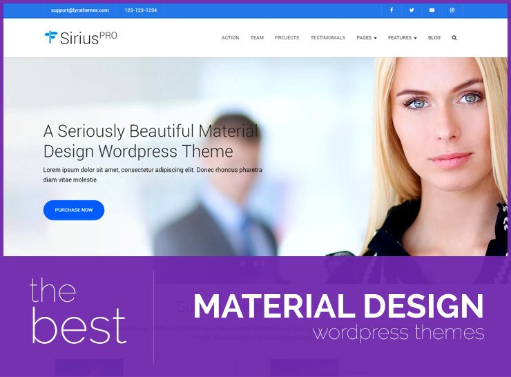 Material Design WordPress Themes For Corporate and Business Websites, Landing Pages, and Blogs
