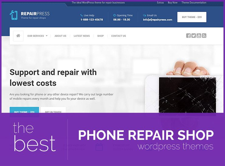 10+ Phone Repair Shop WordPress Themes for Mobile Phone, Tablet, Laptop, and Computer Repair Shops 2017