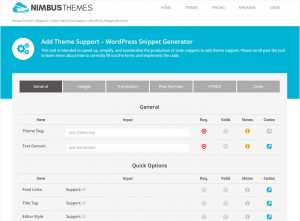 add theme support snippet generator interface