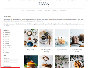 Sample Recipe Index Page with Search and Filter Plugin