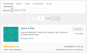 Search for Search & Filter Plugin