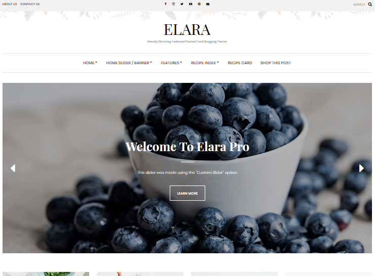 Recipe WordPress Themes – Elara Pro by Lyra Themes