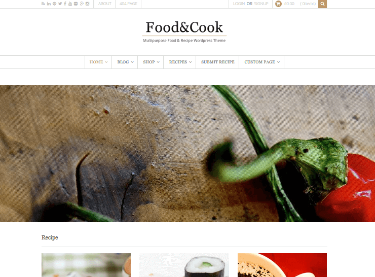 Recipe WordPress Themes – Food & Cook by Dahz