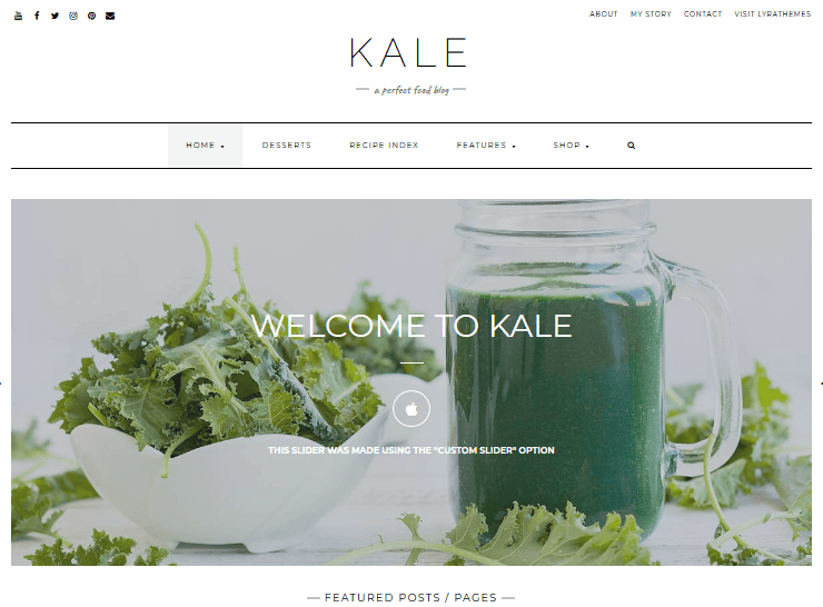 Recipe WordPress Themes – Kale Pro by Lyra Themes