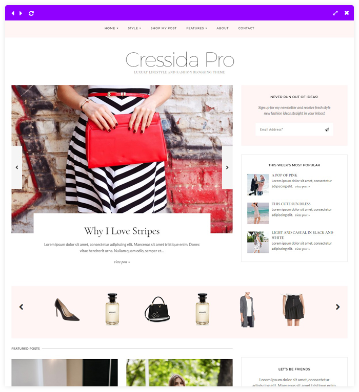 Cressida Pro - The Ultimate Fashion Blog Theme for WordPress